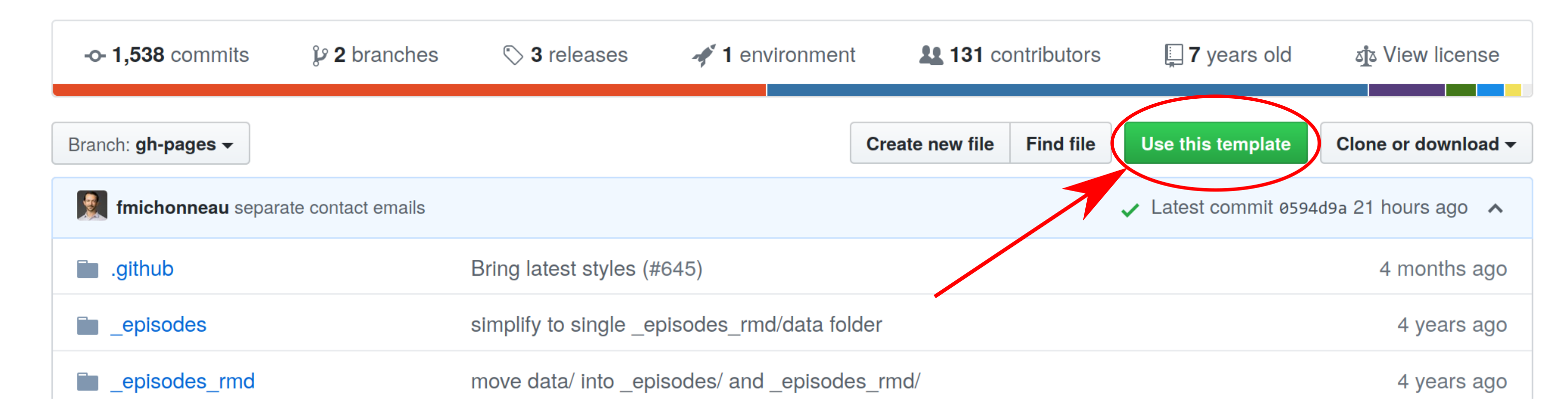 screenshot of this repository's GitHub page with an arrow pointing to the the 'use this template' button on the top left