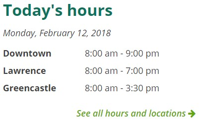 screenshot of today's hours