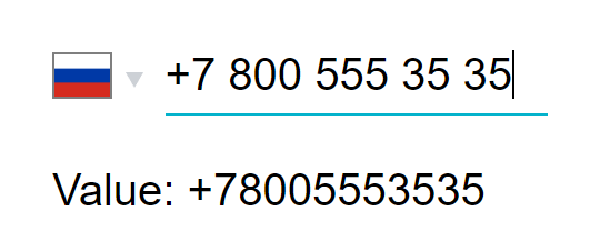 React component for international phone number input
