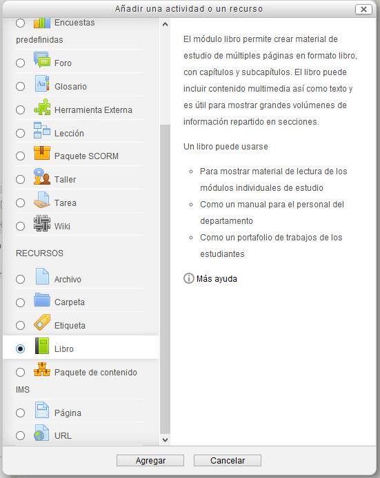 Fig. Captura de pantalla. Ventana de inserción del recurso Libro