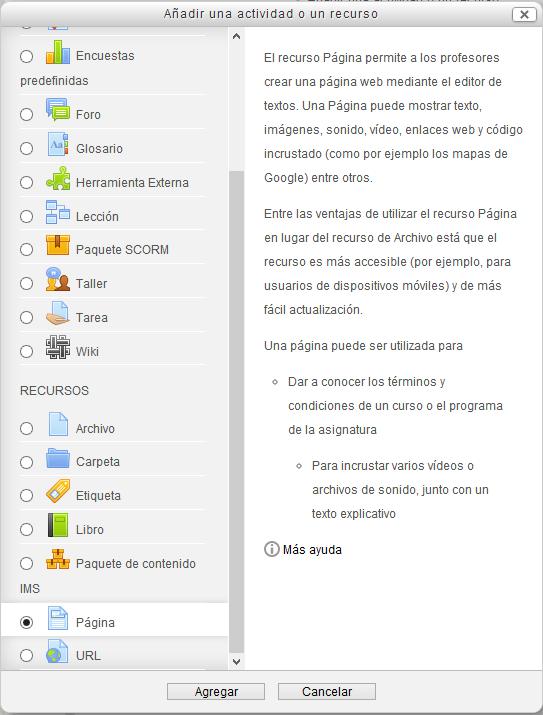 Fig. Captura de pantalla de selección de página