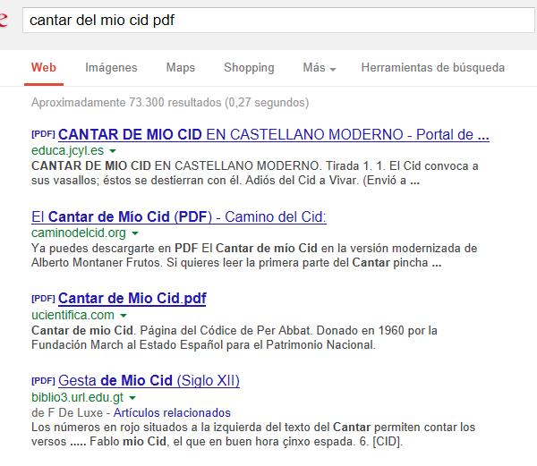 Fig. Captura de pantalla de búsqueda en Google.