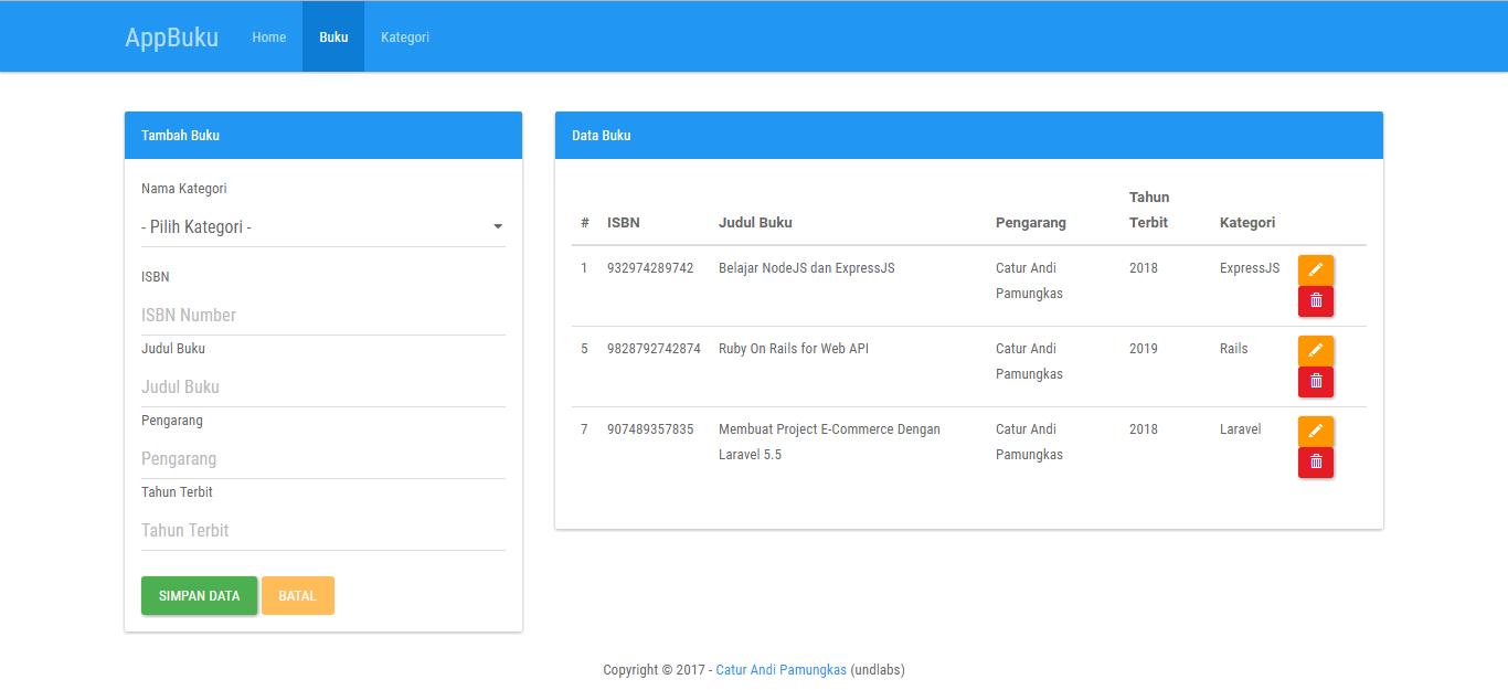 Aplikasi Data Buku dengan Codeigniter 3 dan MariaDB