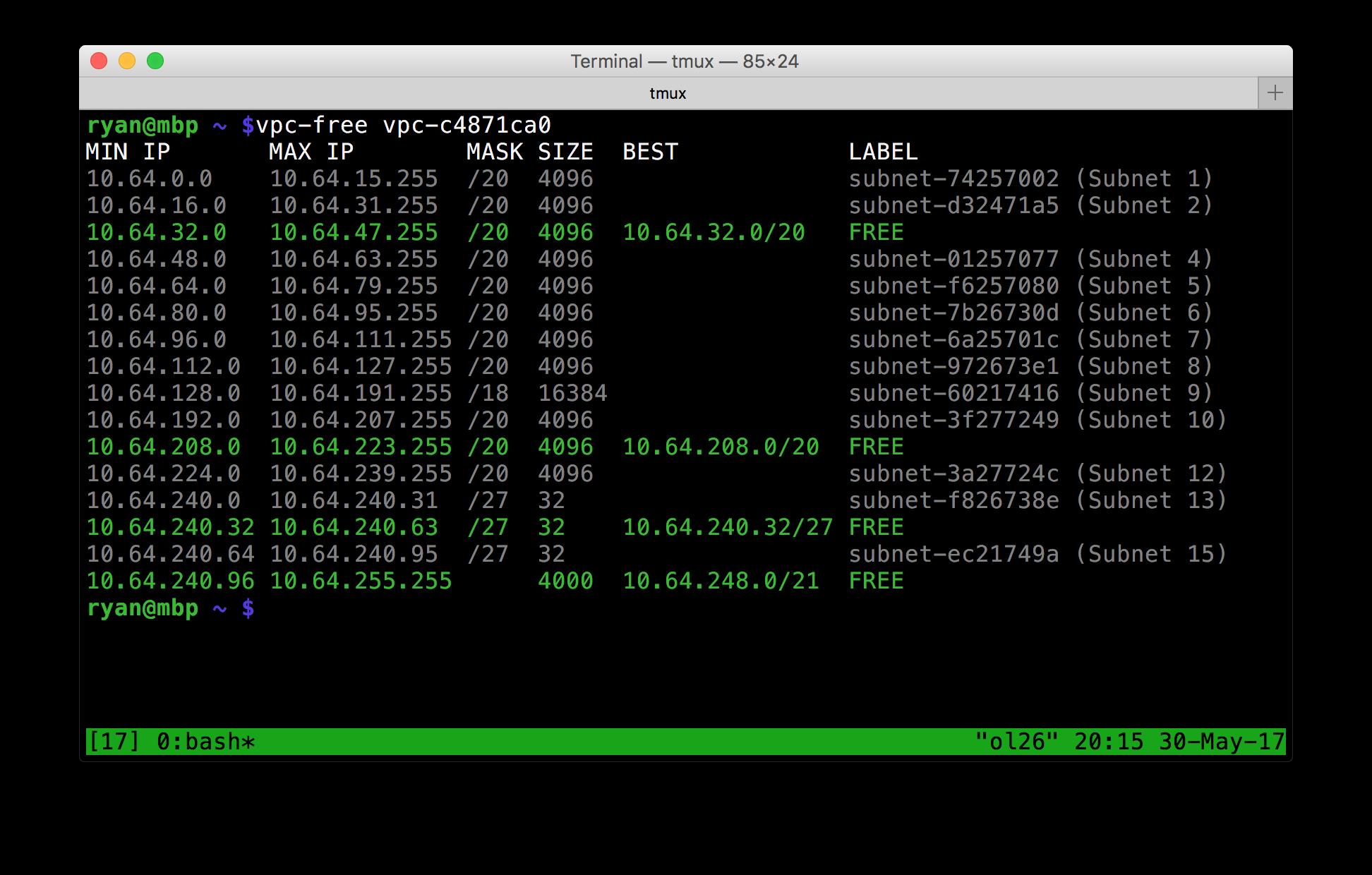 free address blocks in a VPC