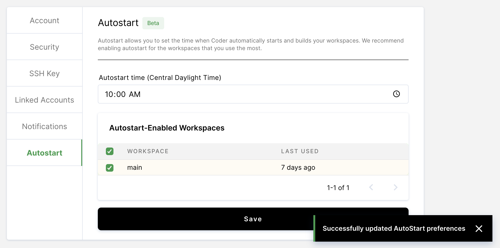 Select workspaces to autostart