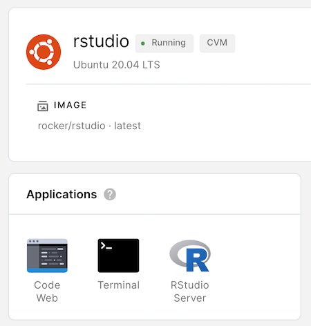 Applications with RStudio launcher