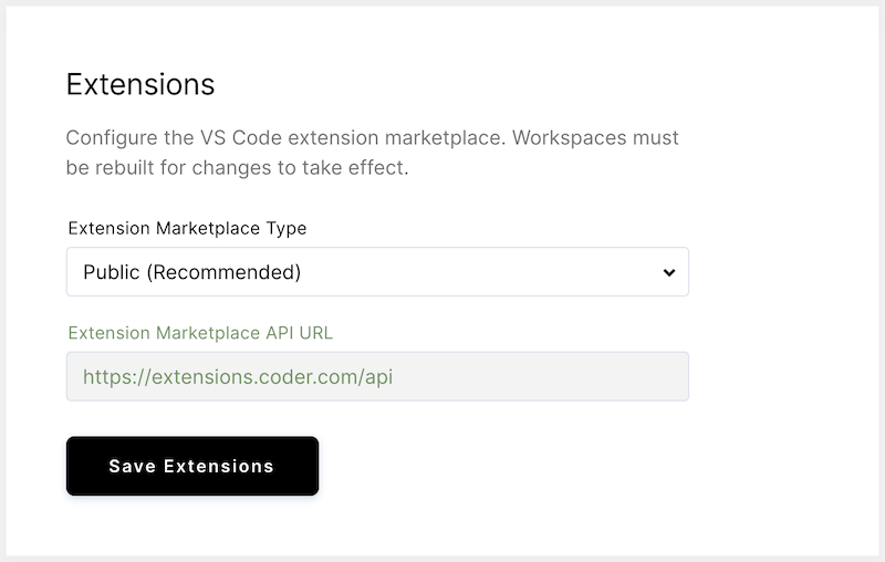 Configuring extensions marketplace