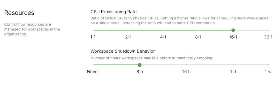 Set CPU provisioning ratios