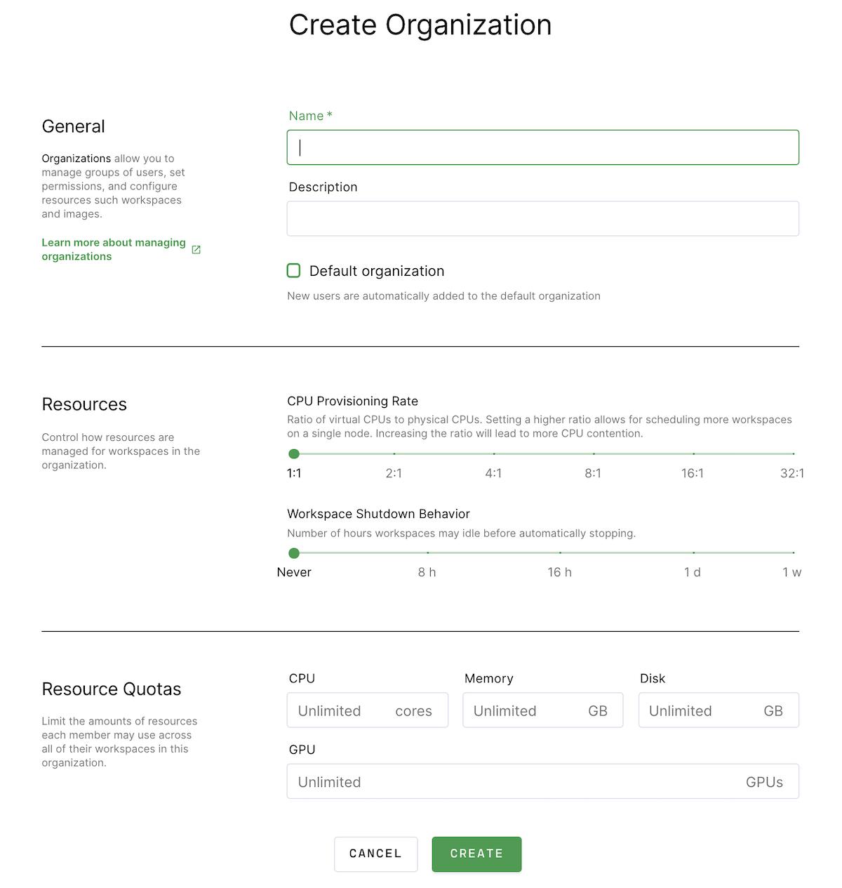 Create a new organization dialog