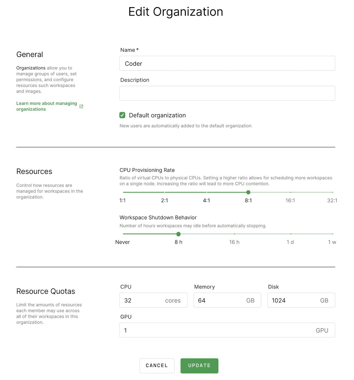 Edit an organization dialog