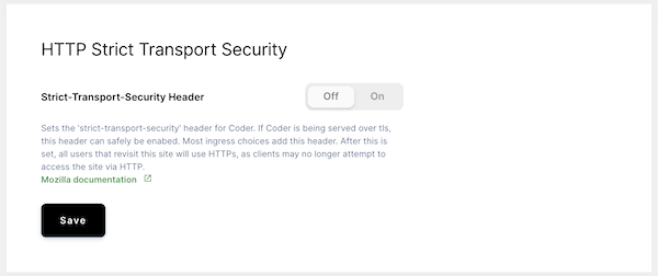 Toggle HTTP Strict Transport Security Header