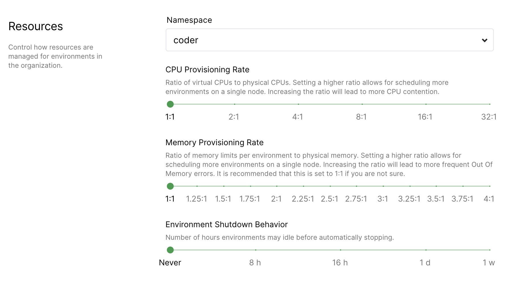 Set memory overprovisioning ratios