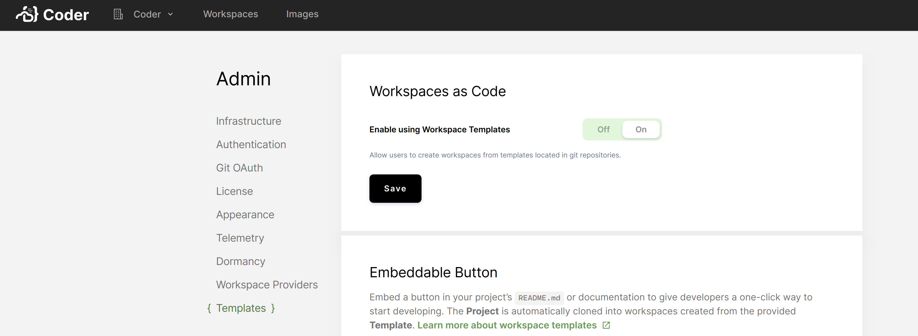 Toggle workspace templates