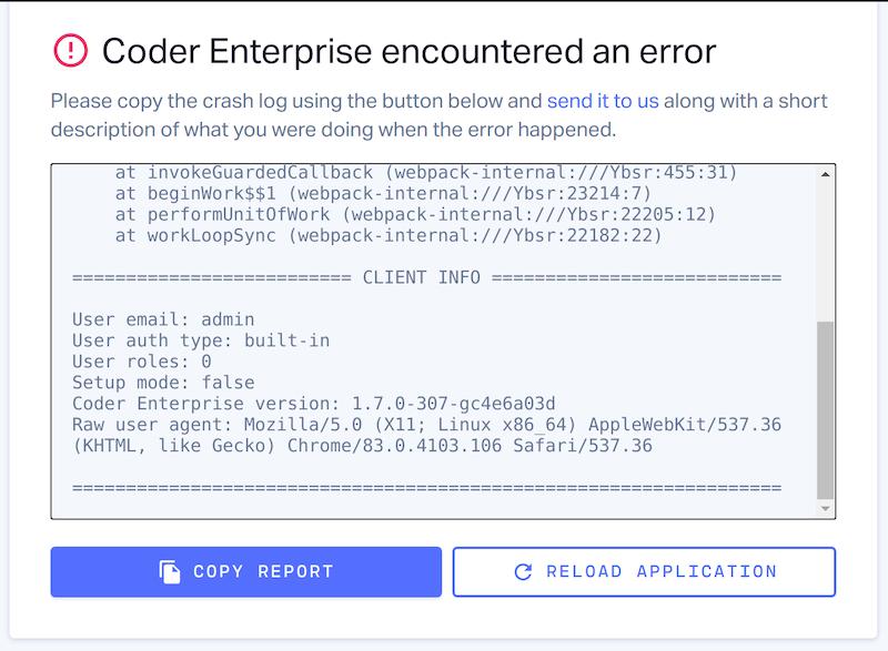 Coder error report