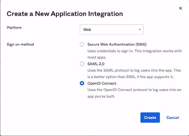 Okta Create Application Modal