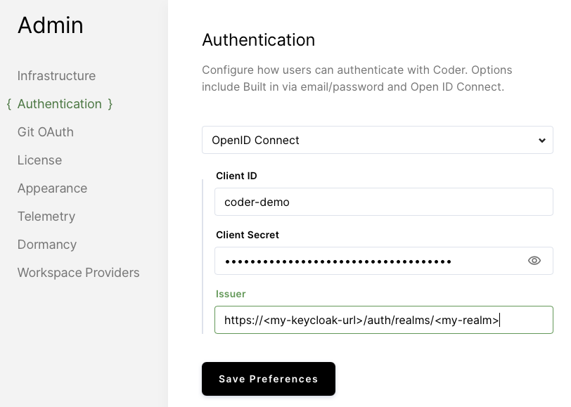 Coder Keycloak Config