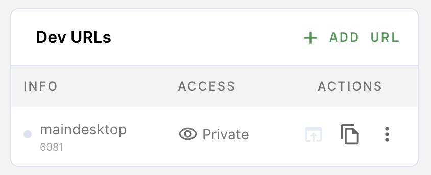 Dev URLs List