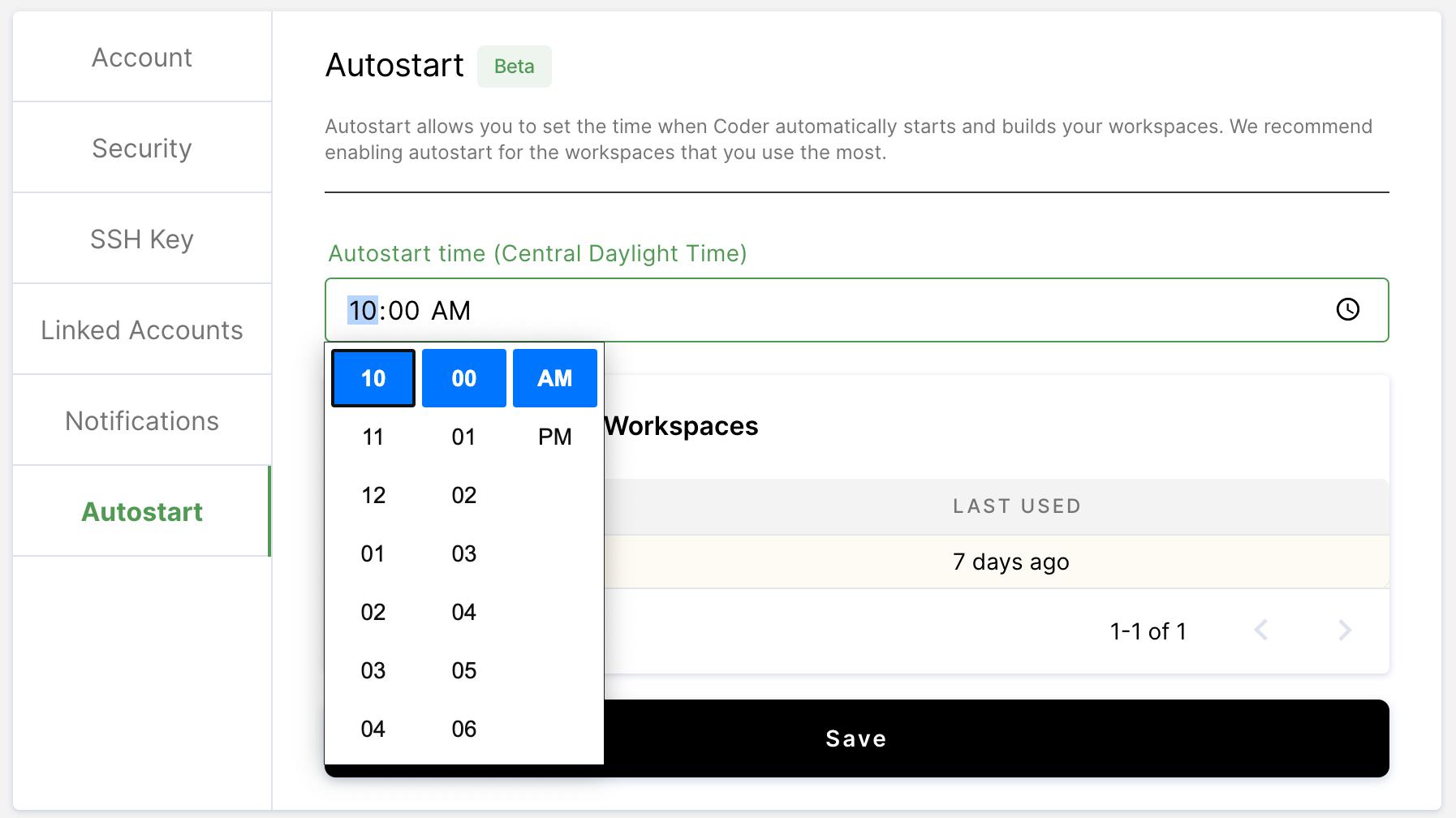 Set autostart time