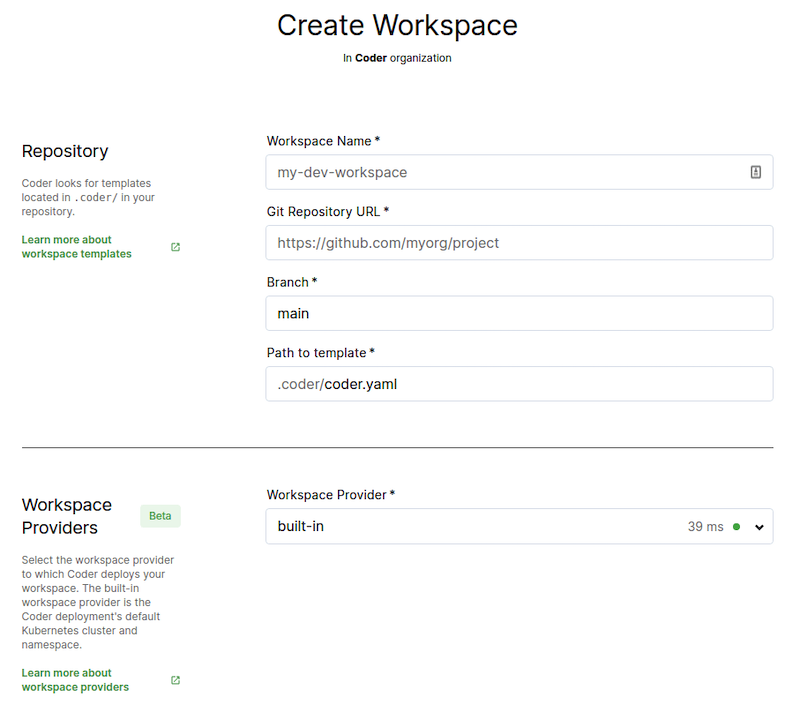 Create workspace from template