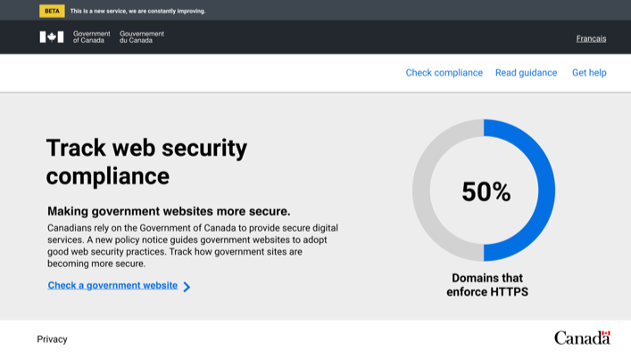 English landing page: header with title, some text, and a chart showing number of domains that enforce HTTPS