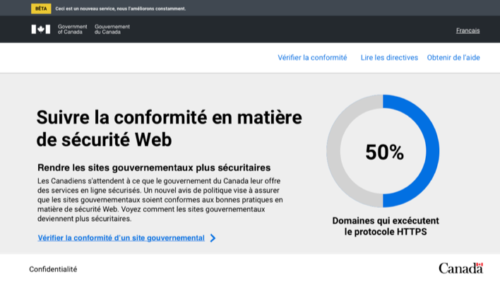 French landing page: header with title, some text, and a chart showing number of domains that enforce HTTPS
