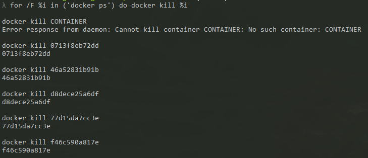 docker kill all containers