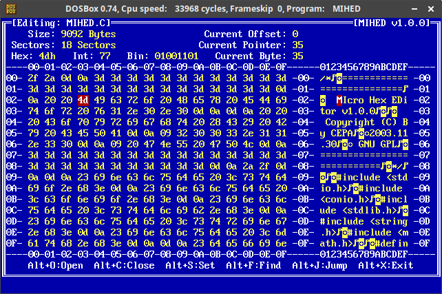 GitHub - cepa/mihed: MIcro HEx Editor created for DOS in 2003 in