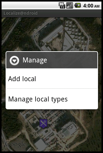 manage option screen