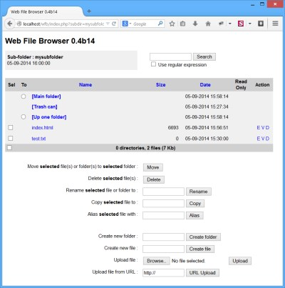 Web File Browser snapshot