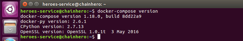 End of the docker compose installation