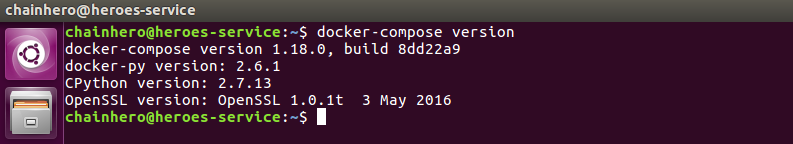 Screenshot end of the Docker Compose installation
