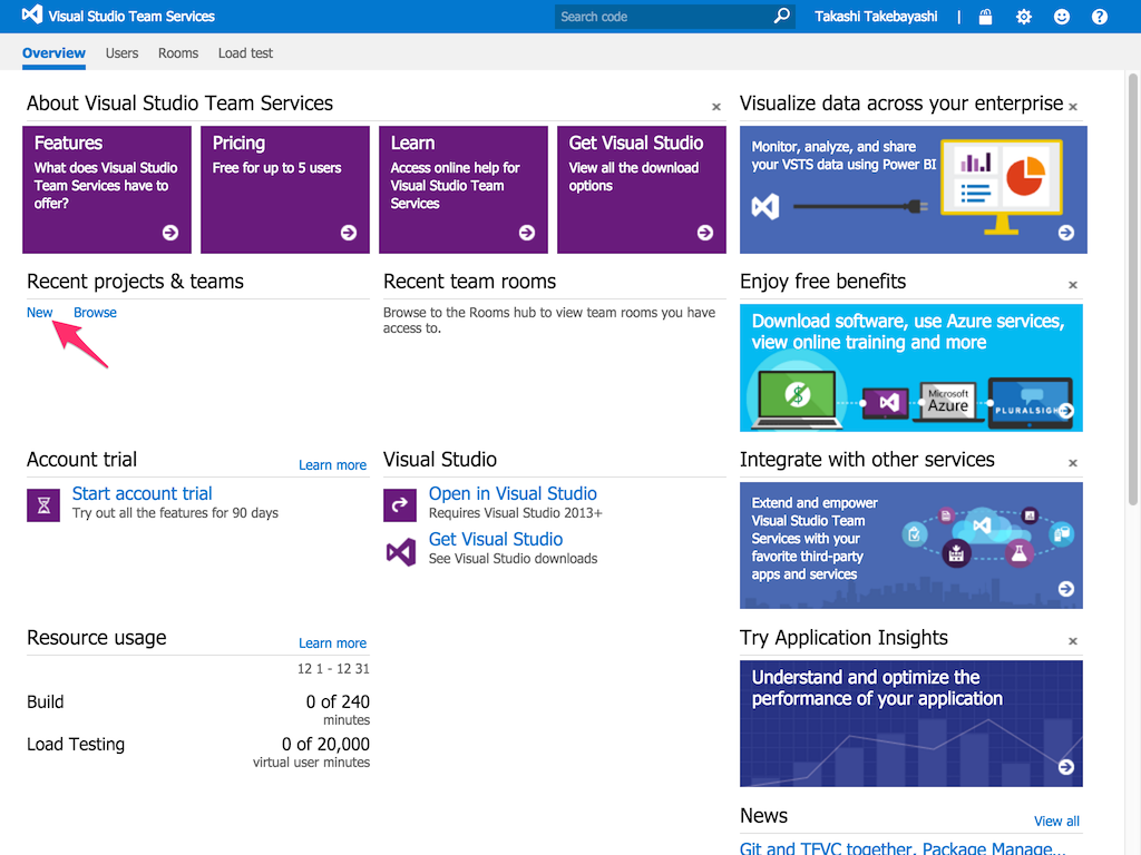 Create a team project on Visual Studio Team Services 1