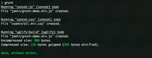 grunt command in terminal
