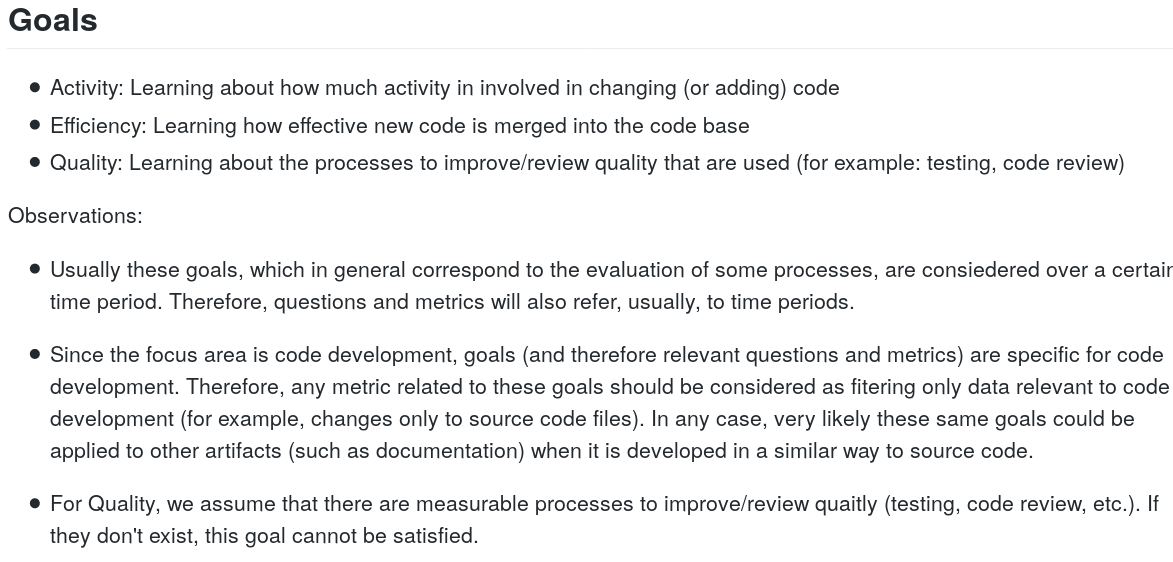 Goals for the code development focus area