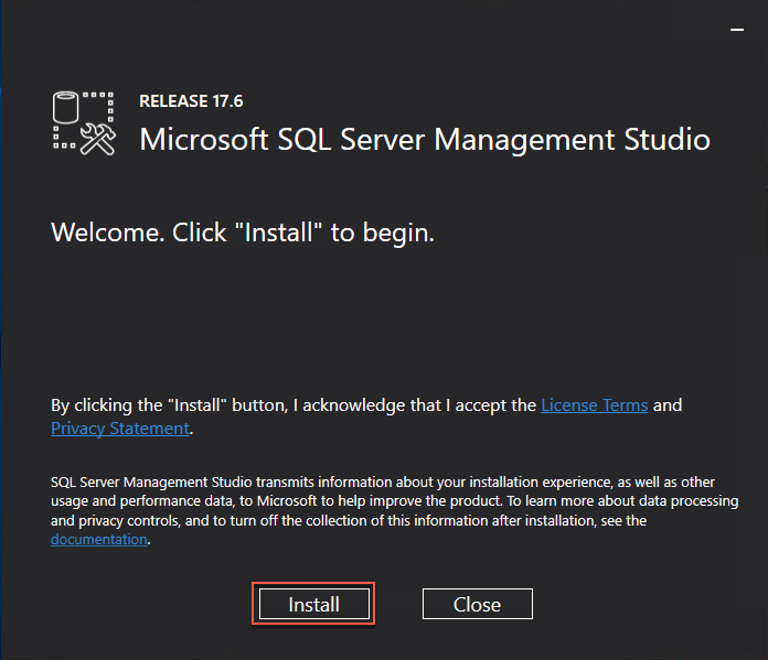 The Microsoft SQL Server Management Studio installer welcome screen is displayed, and the Install button is highlighted.