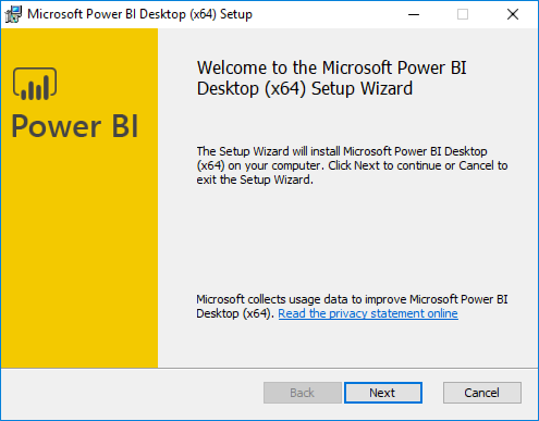 The Welcome screen of the Power BI installer is displayed, with the Next button highlighted and selected.