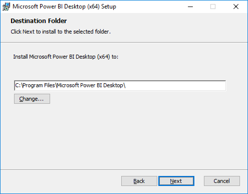 Screenshot of the Microsoft Power BI installer's Destination Folder screen, with the default path displayed, and the Next button highlighted.