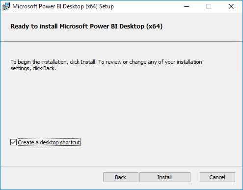 "Screenshot of the Microsoft Power BI installer's Ready to Install screen, with the ""Create a desktop shortcut"" checkbox checked, and the Install button highlighted."