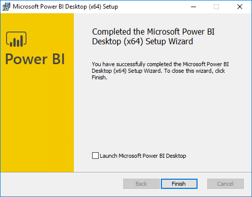 "The Completed the Microsoft Power BI Desktop screen is displayed, with the ""Launch Microsoft Power BI Desktop"" checkbox unchecked, and the Finish button highlighted."