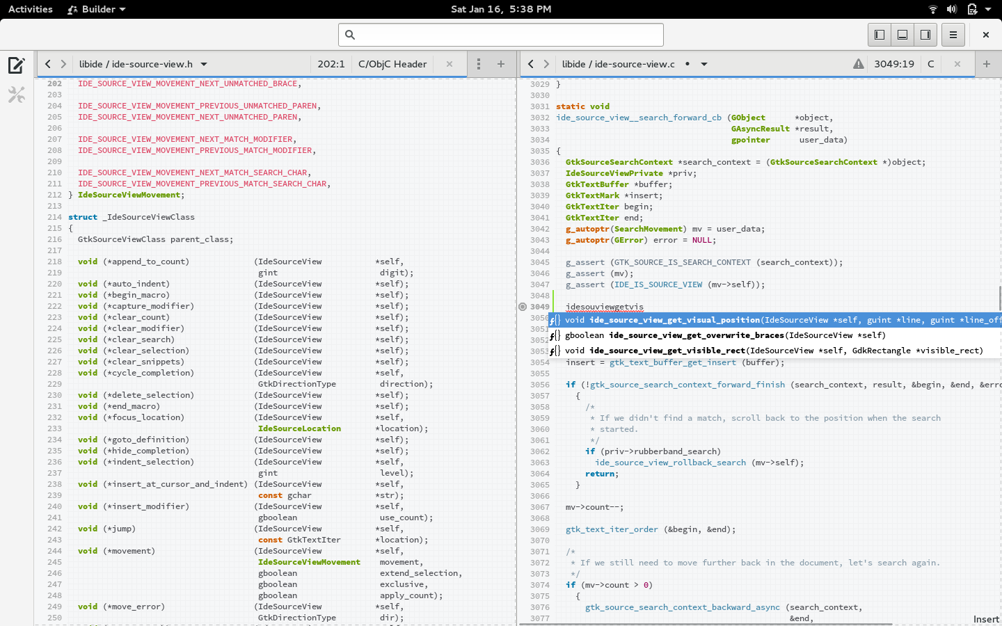 GNOME Builder screenshot