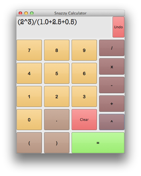 Screenshot of SnazzyCalculator with a formula entered
