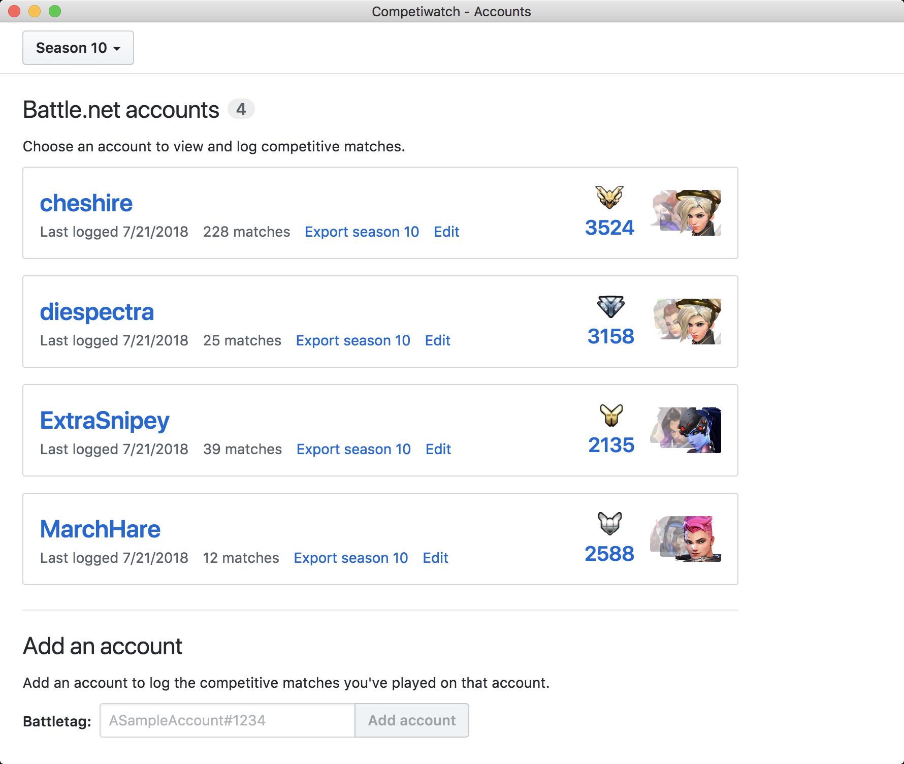Screenshot of accounts page