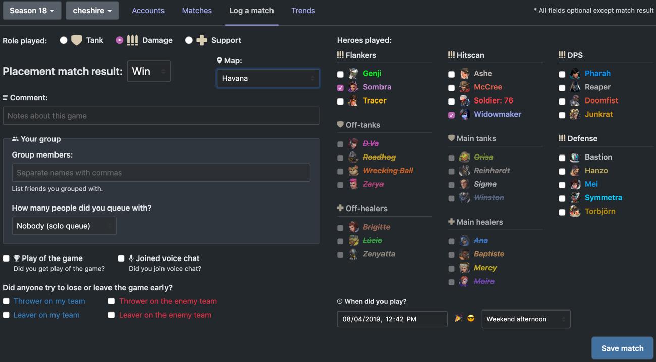 Screenshot of log match form