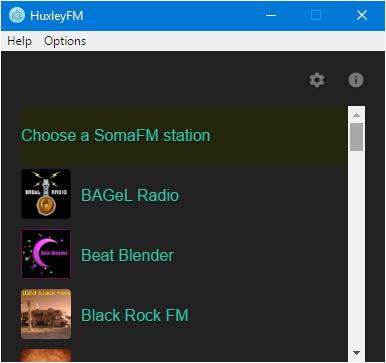 Screenshot of Windows station menu