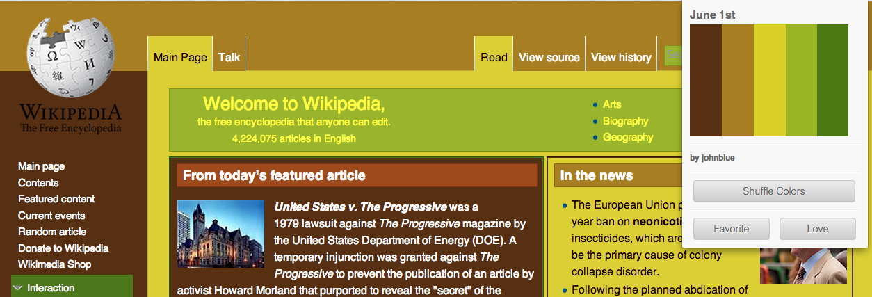 Screenshot of Page Colourizer