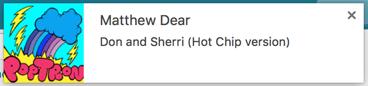 Screenshot - a song notification