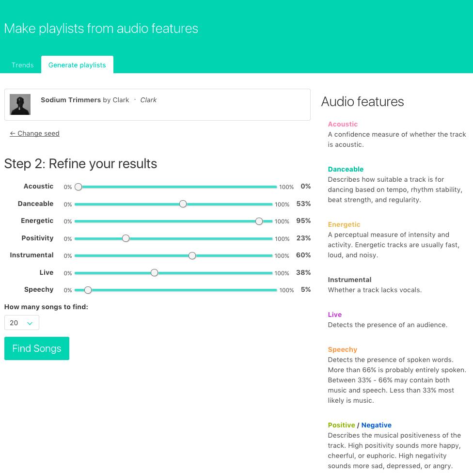 Screenshot of adjusting audio features