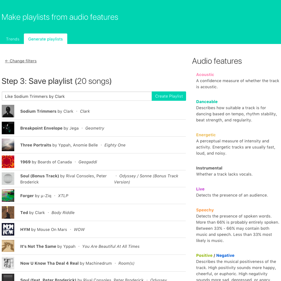 Screenshot of creating a playlist