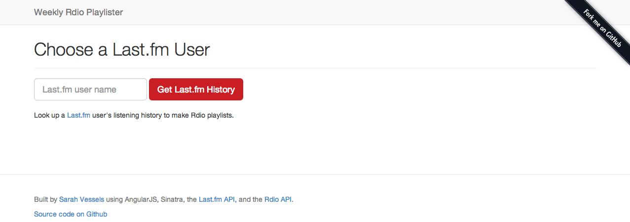 Screenshot of Weekly Rdio Playlister