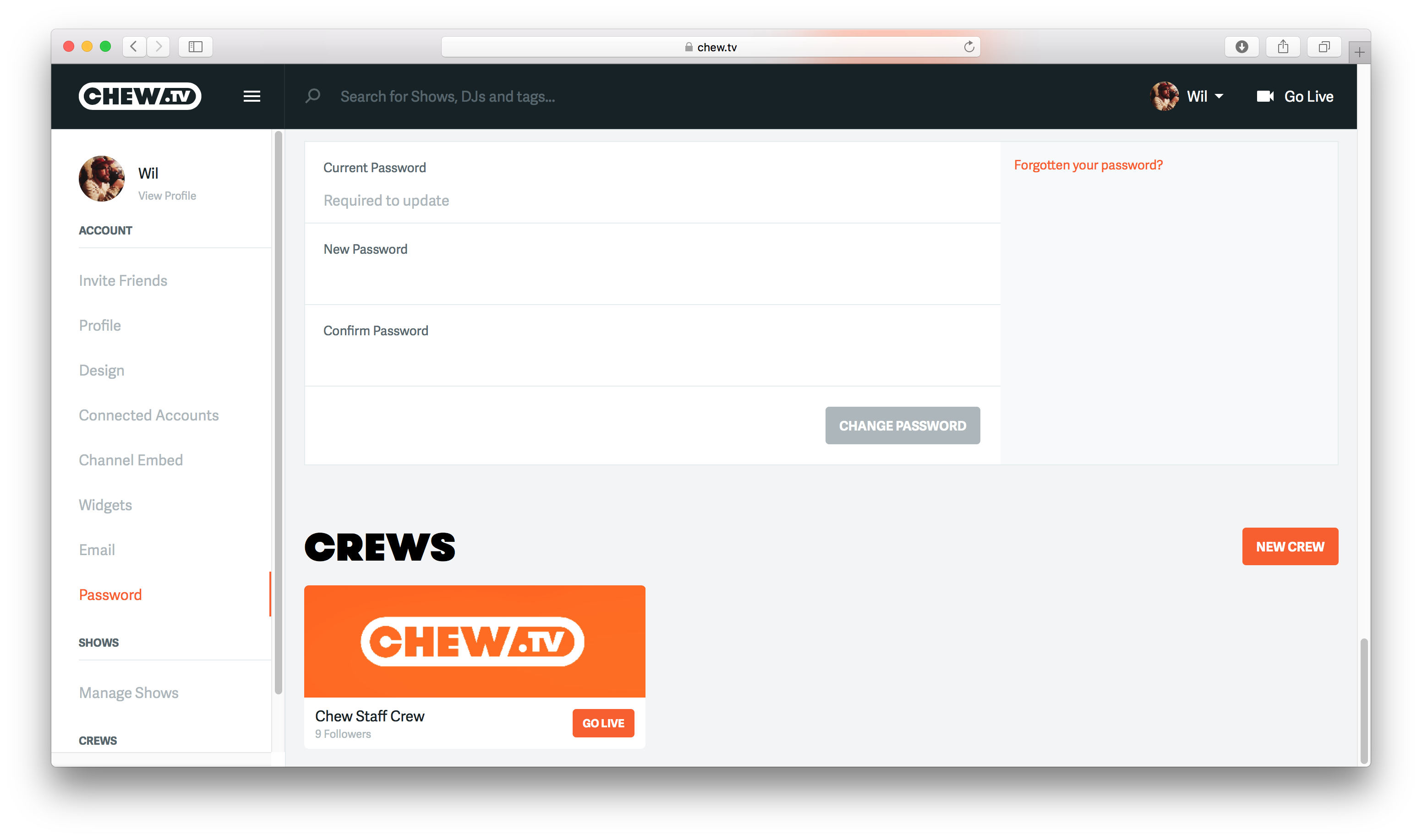 Crews on account page